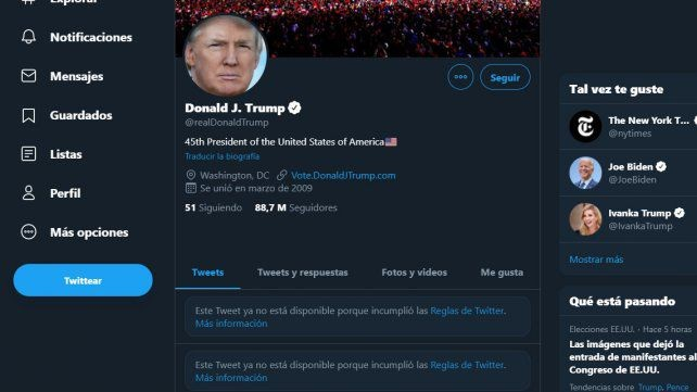 Por infracciones graves, Twitter suspendió la cuenta de Donald Trump