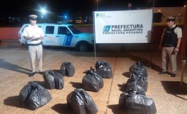 Secuestraron 241 kilos de marihuana en el río Paraná