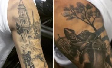 Un futbolista se tatuó la batalla de San Lorenzo