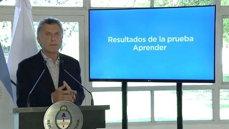 Macri aseguró que los resultados de las Pruebas Aprender