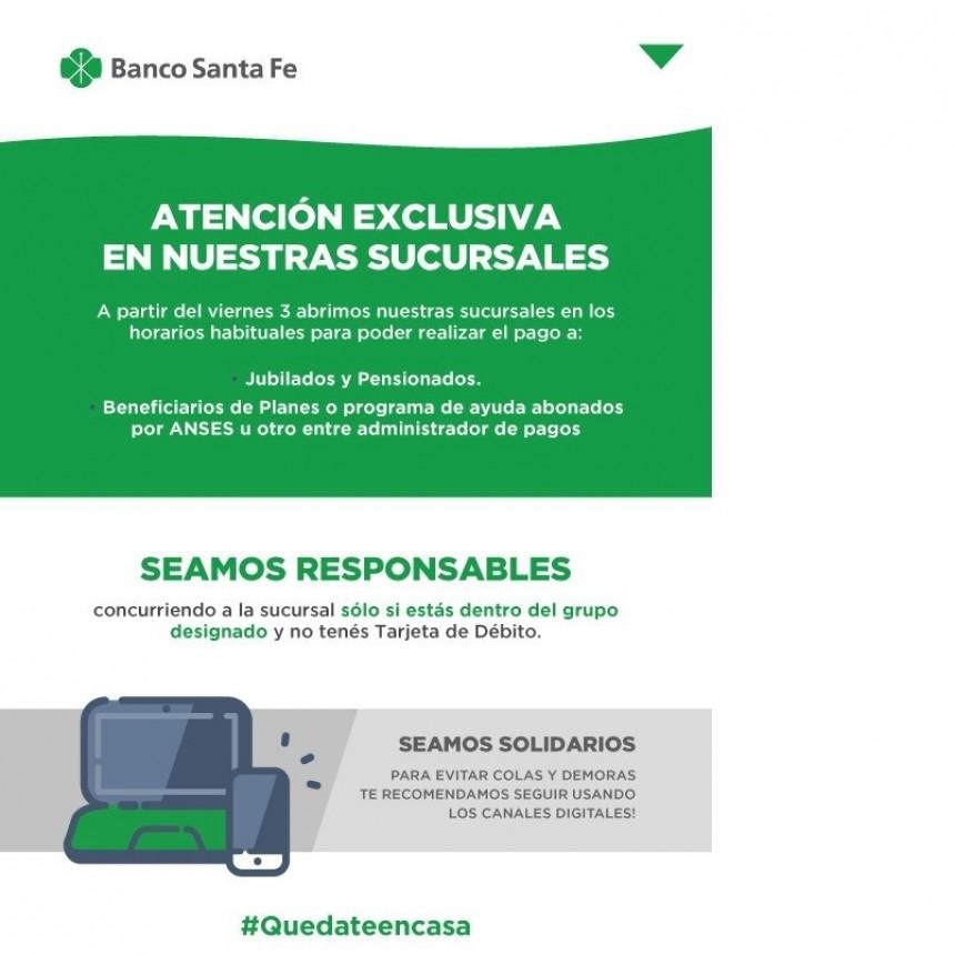 Jubilados: Banco Santa Fe abrirá sus puertas desde este Viernes