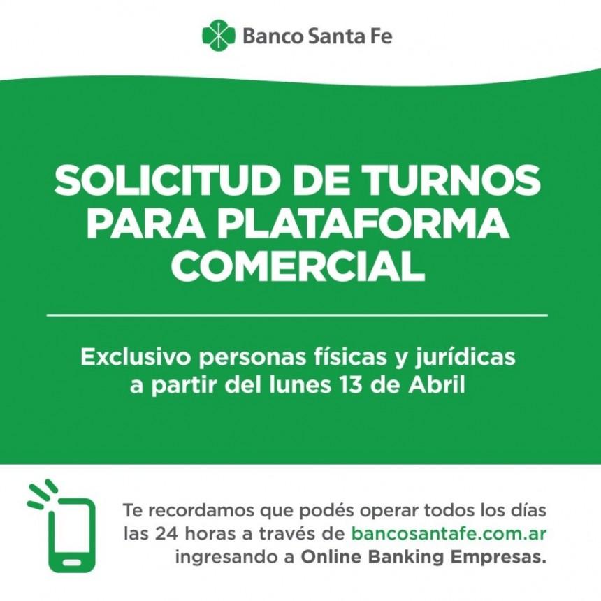 Desde el Lunes 13, Banco Santa Fe atenderá al público en general sólo con turno previo
