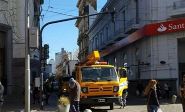 Obras de semaforización en la peatonal