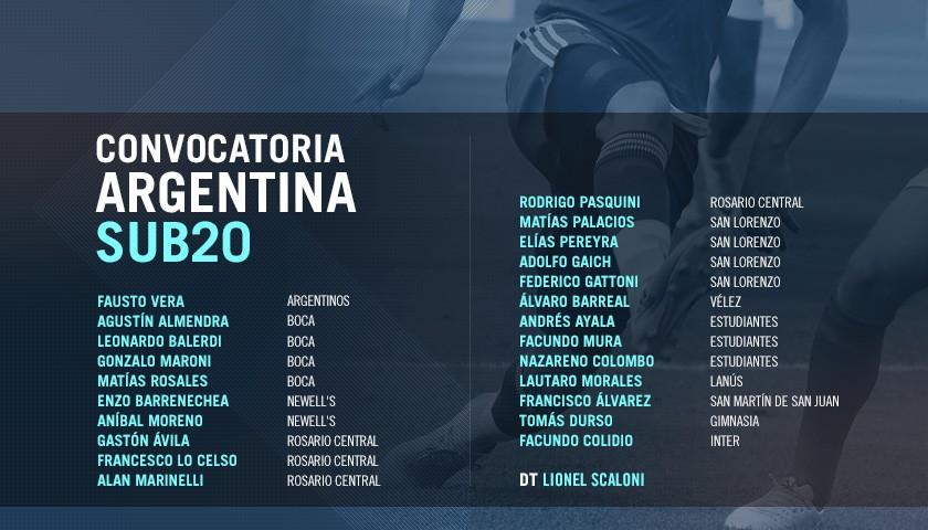 Se confirmó la lista del Sub 20 con las figuras que no le garantizaban a Sampaoli