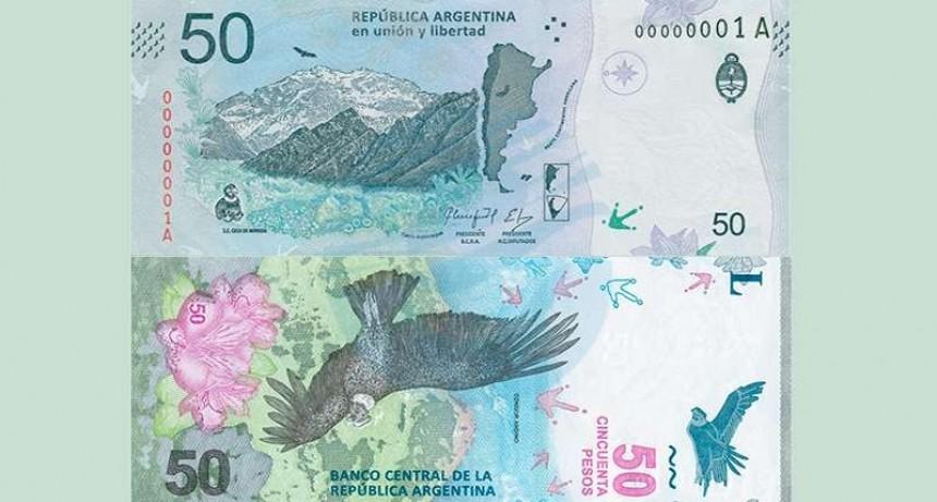 Este jueves comenzará a circular el nuevo billete de 50 pesos