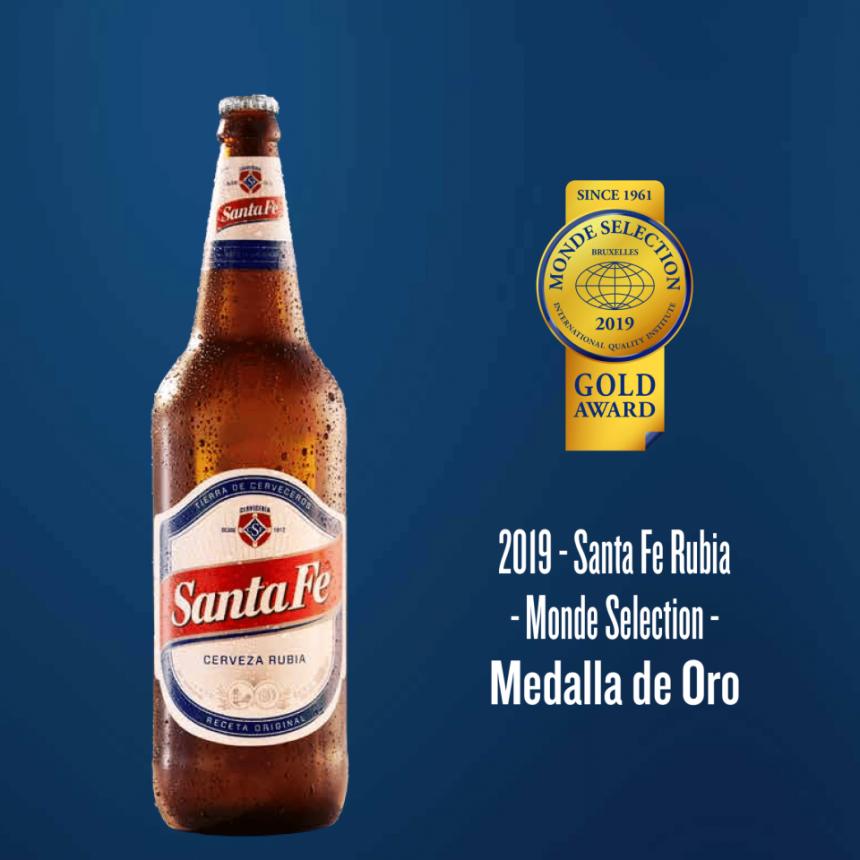 Cerveza Santa Fe obtuvo una medalla de oro a la calidad en un certamen de nivel mundial