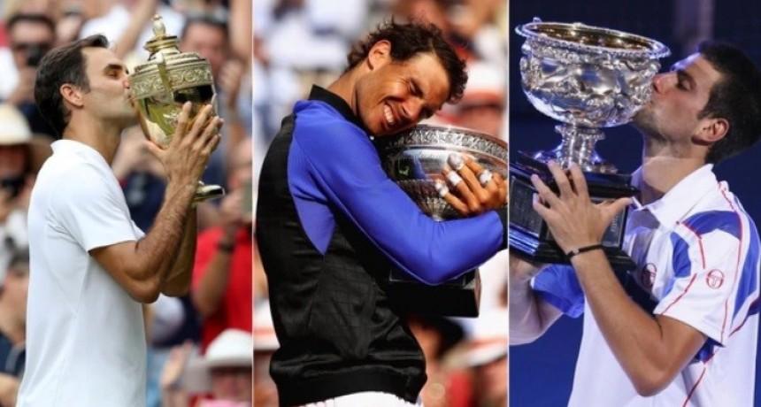 Federer, Nadal y Djokovic se repartieron 51 de los últimos 62 títulos del Grand Slam