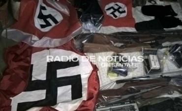 Secuestran un arsenal y simbología nazi en una casa del oeste de la ciudad