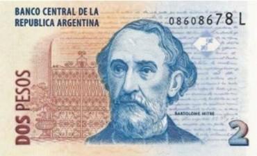 El Banco Central dejará de imprimir los billetes de dos pesos