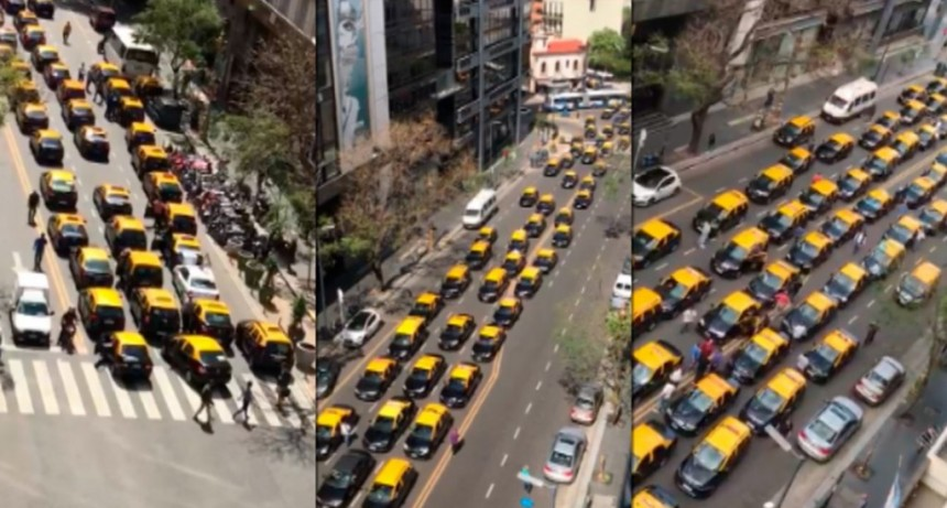 Taxistas coparon el centro porteño para protestar contra Uber