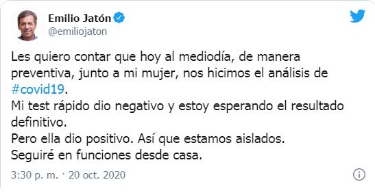El intendente Emilio Jatón está aislado porque su mujer dio positivo de coronavirus