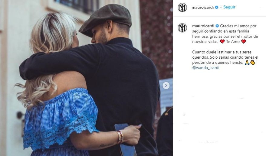 Mauro Icardi sorprendió con un romántico mensaje para Wanda Nara: Gracias por seguir confiando