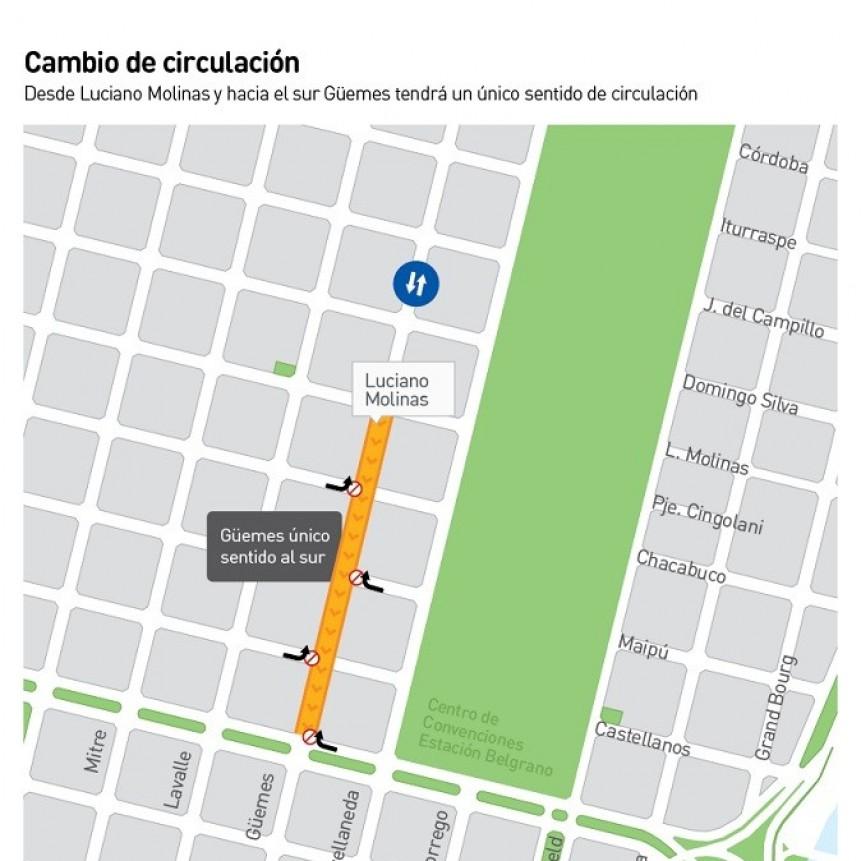 Cambió el sentido de circulación de calle Güemes entre Luciano Molinas y Boulevard