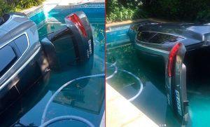 Accidente de country: cheta se zambulló en la pileta con su camioneta importada